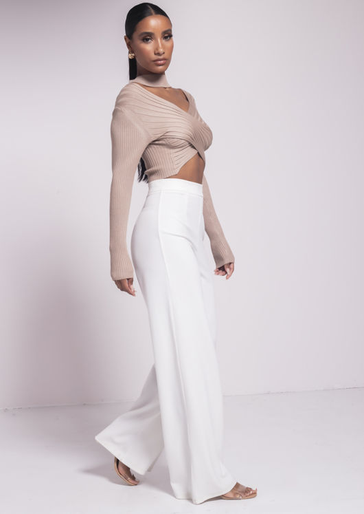 Ribbed Cross Wrap High Neck Cut Out Crop Top Beige