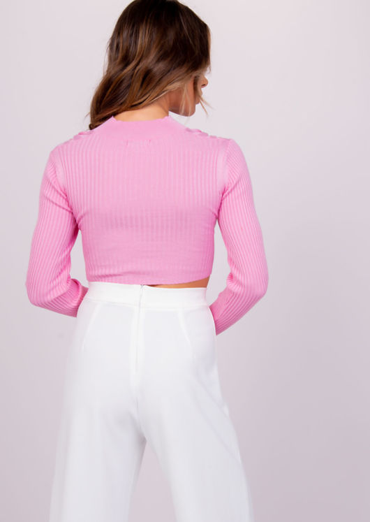 Ribbed Cross Wrap High Neck Cut Out Crop Top Pink