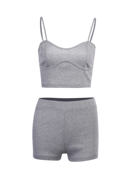 Ribbed Cupped Crop Top Shorts Loungewear Co Ord Set Grey