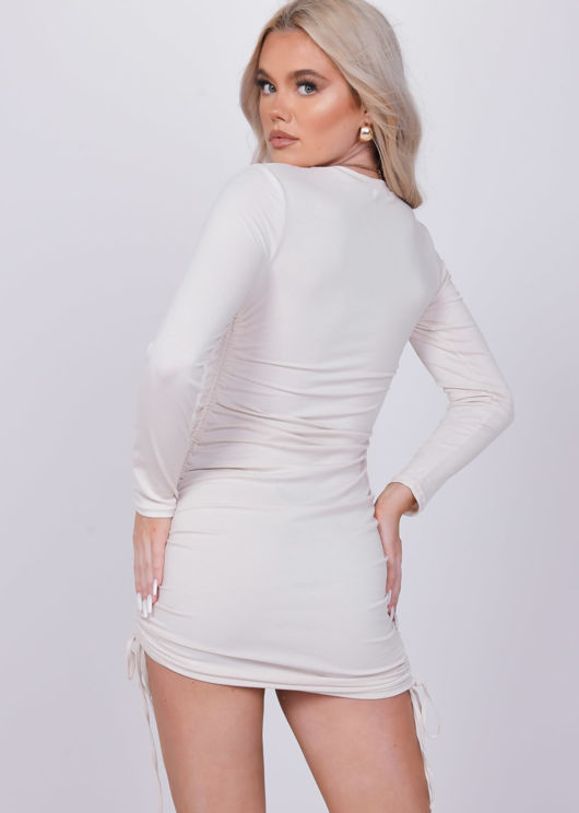 Ribbed Drawstring Side Ruched Long Sleeves Mini Dress Beige