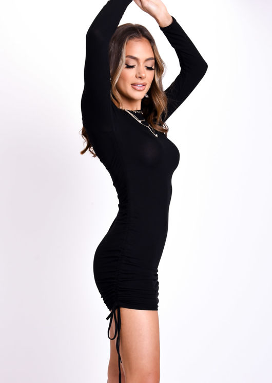 Ribbed Drawstring Side Ruched Long Sleeves Mini Dress Black