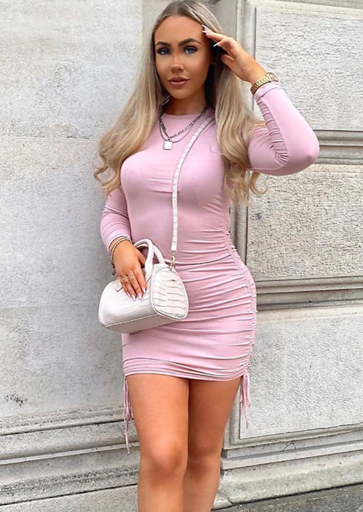 Ribbed Drawstring Side Ruched Long Sleeves Mini Dress Pink
