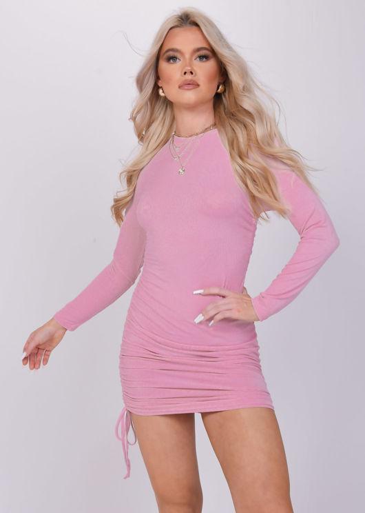 Ribbed Drawstring Side Ruched Long Sleeves Mini Dress Pink