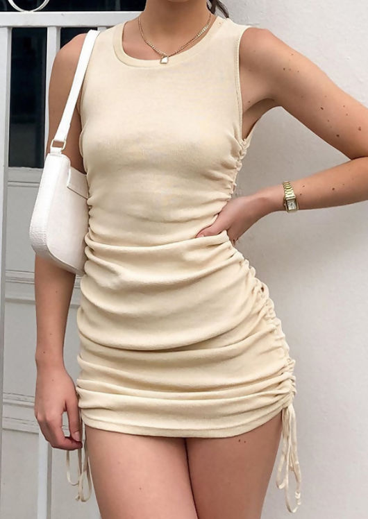 Ribbed Drawstring Side Ruched Mini Dress Beige