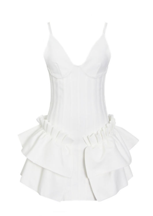 Ribbed Frilled Adjustable Strapped Pleated Bodycon Mini Dress White