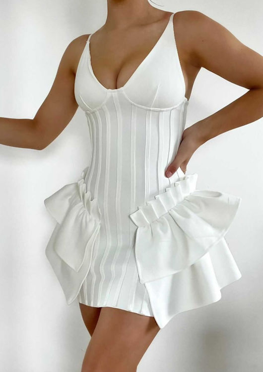 V Neck Cupped Side Frilled Strap Bodycon Mini Dress White