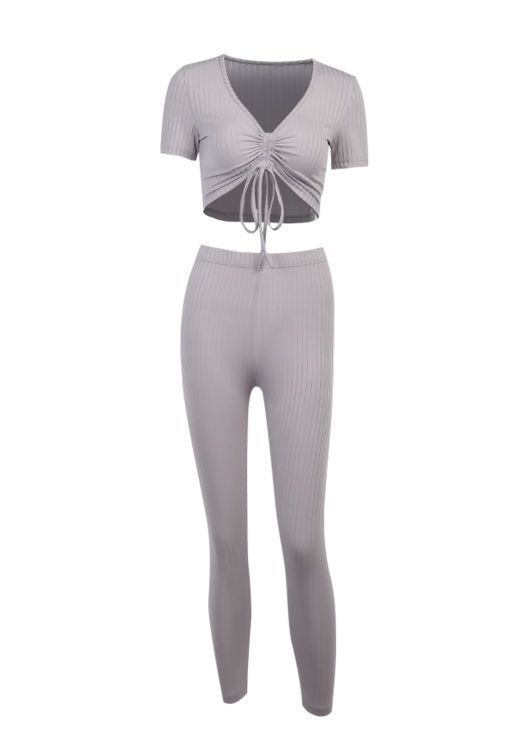 Ribbed Front Drawstring Tie Crop Top Skinny Joggers Loungewear Co ord Set Grey