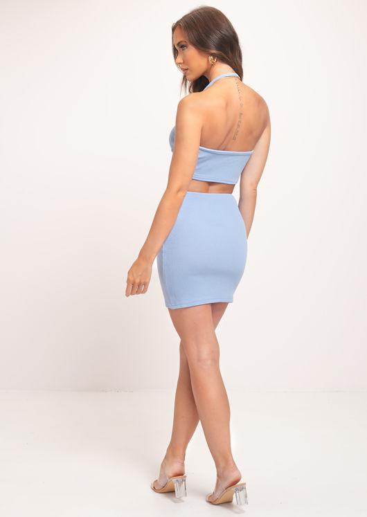 Ribbed Halterneck Crop Top And Mini Skirt Co-Ord Set Blue