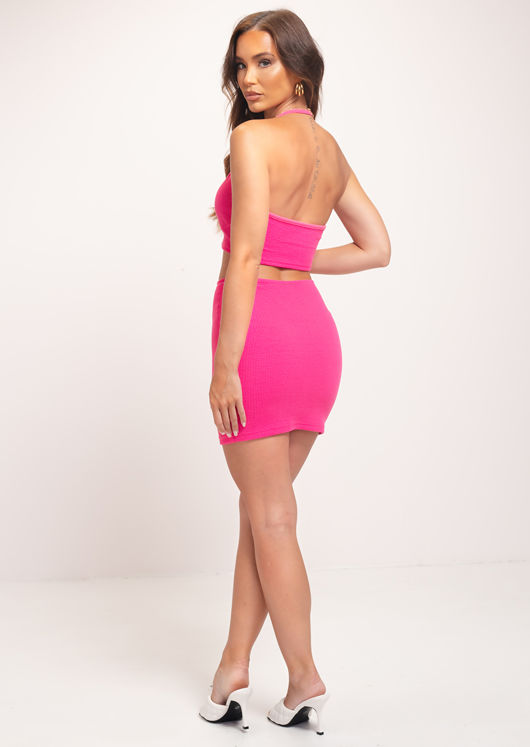 Ribbed Halterneck Crop Top And Mini Skirt Co-Ord Set Pink