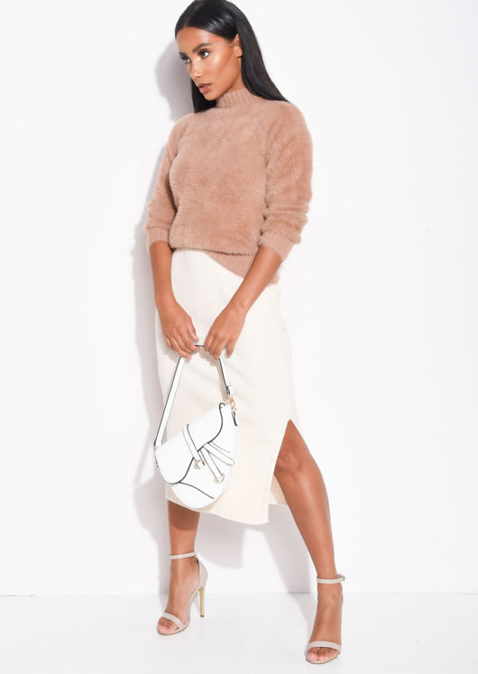 Ribbed Knit Button Side Split Detail Midi Skirt Cream