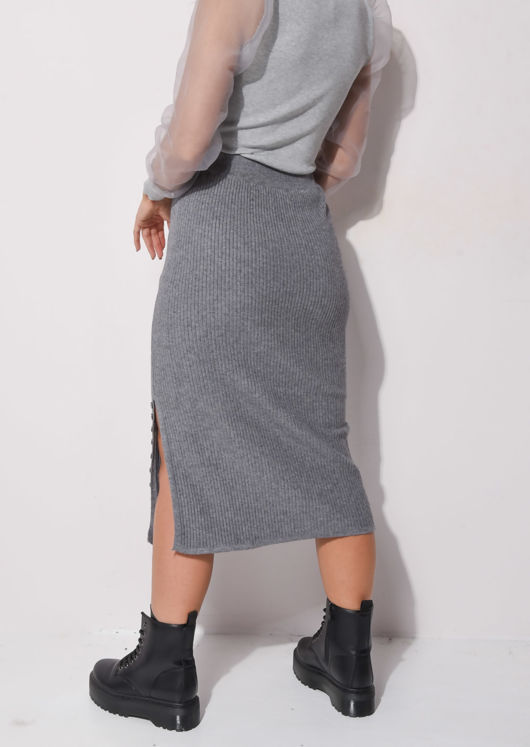 Ribbed Knit Button Side Split Detail Midi Skirt Grey