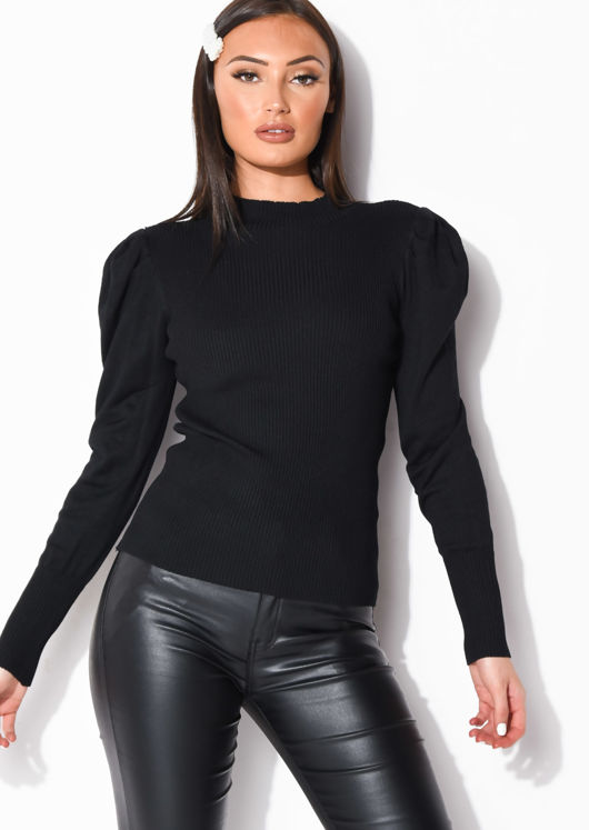 Ribbed Knit High Neck Jumper Top Black
