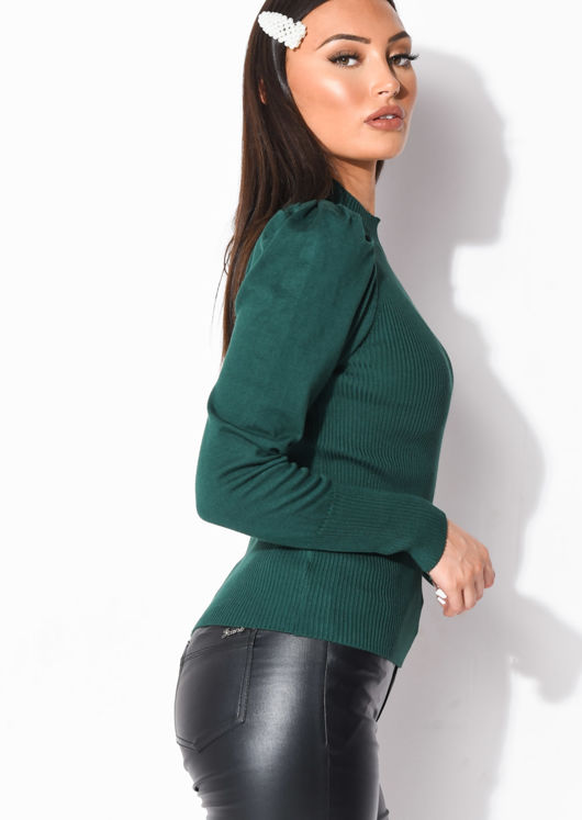 Ribbed Knit High Neck Jumper Top Green