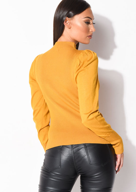 Ribbed Knit High Neck Jumper Top Mustard Yellow