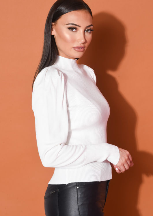 Ribbed Knit High Neck Jumper Top White