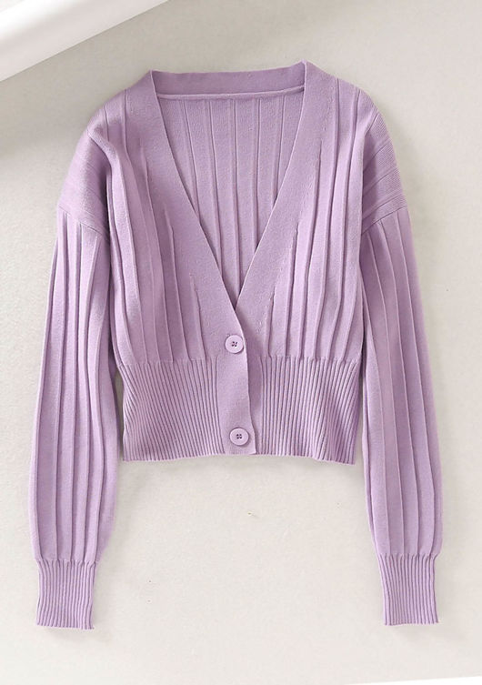 V Neck Ribbed Knitted Front Button Crop Cardigan Top Purple