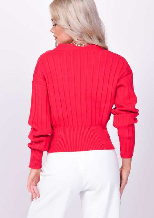 V Neck Ribbed Knitted Front Button Crop Cardigan Top Red