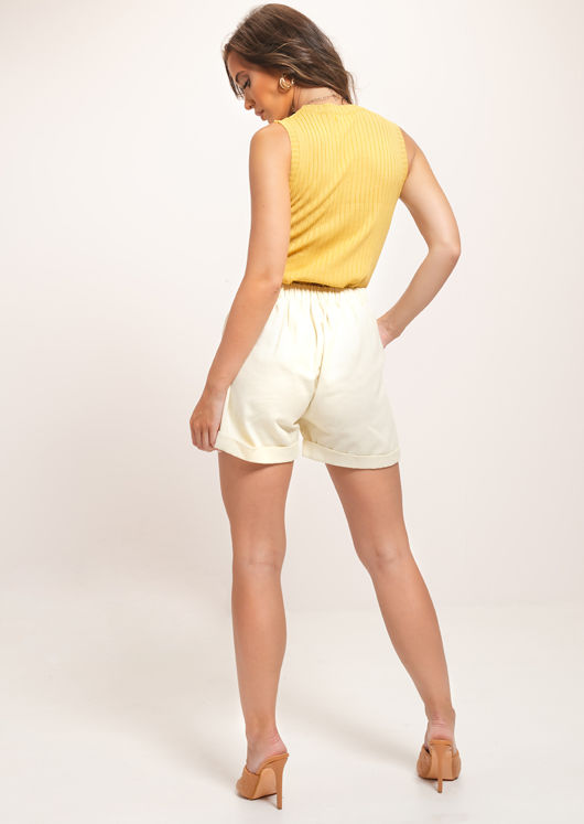 Ribbed Knitted High Neck Vest Top Yellow