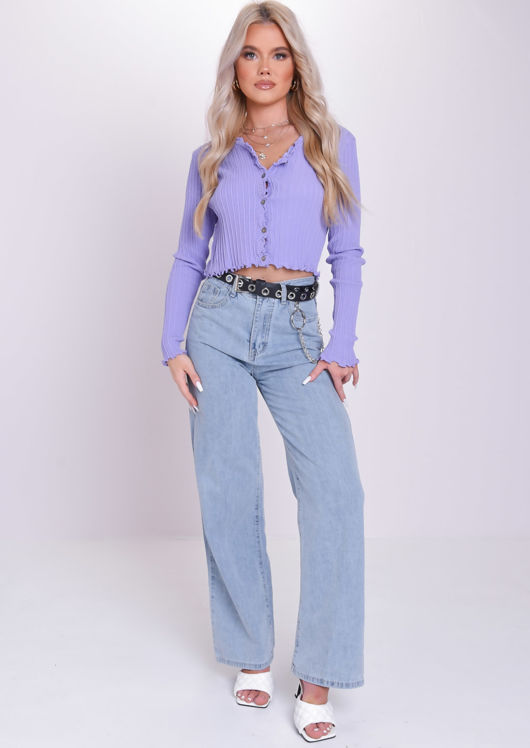 Ribbed Frill Long Sleeve Button Down Cardigan Top Purple
