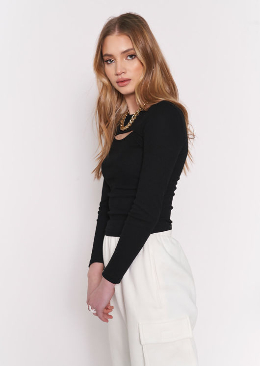 Ribbed Long Sleeve Cut Out Chest Detail Top Black