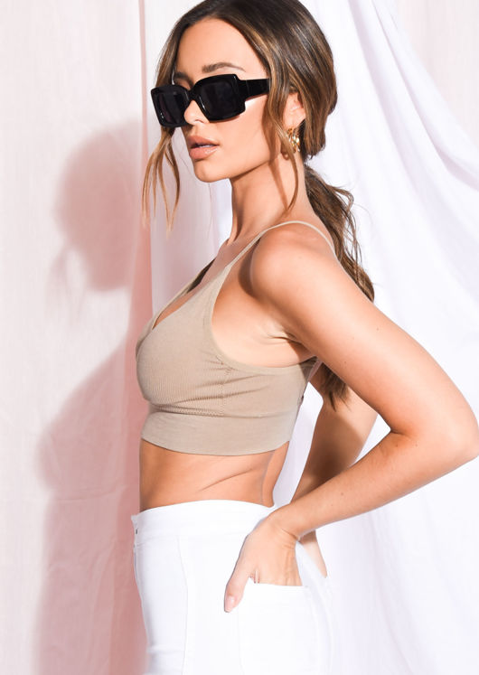 Ribbed Padded V Neck Bralet Crop Top Camel Brown