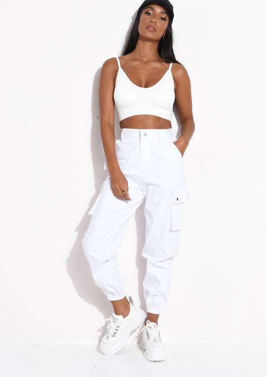Ribbed Padded V Neck Bralet Crop Top White