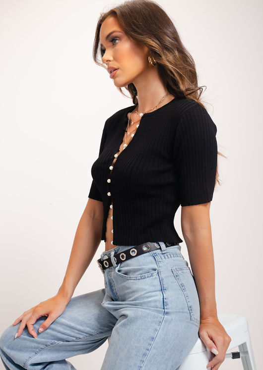 Ribbed Pearl  Button Front Mid Sleeve Crop Cardigan Knitted Top Black