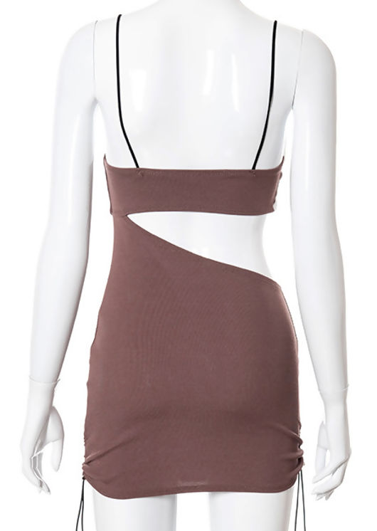 Ribbed Side Cut Out Ruched Drawstring Detailing Mini Dress Brown