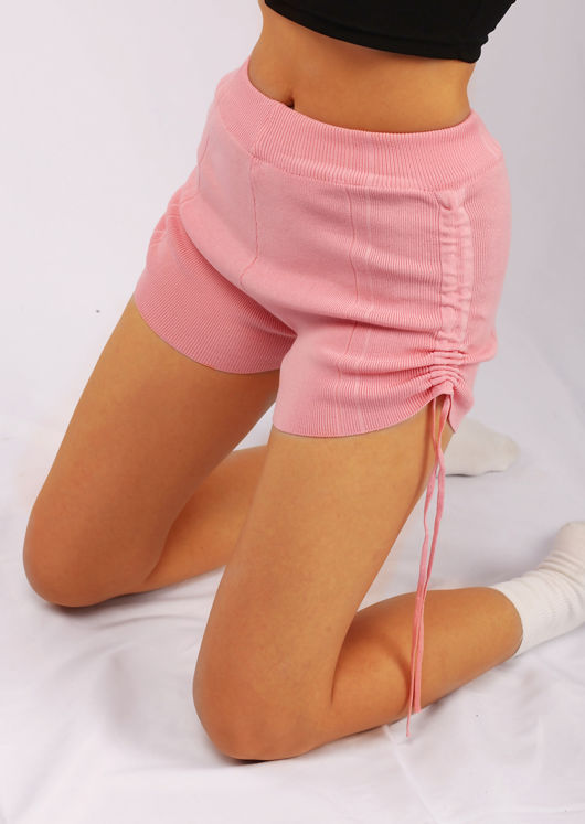 Ribbed Side Drawstring Shorts Pink