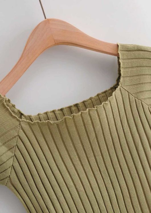 Ribbed Square Neckline Crop Knitted Top Green
