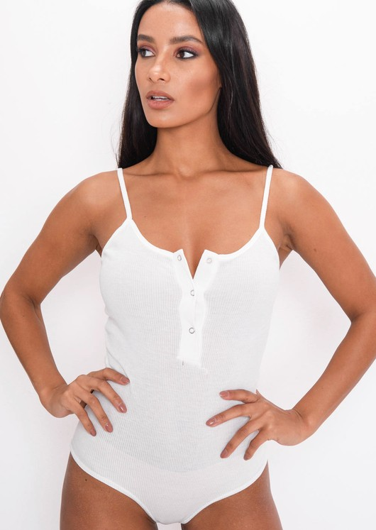 Ribbed Strappy Bodysuit White