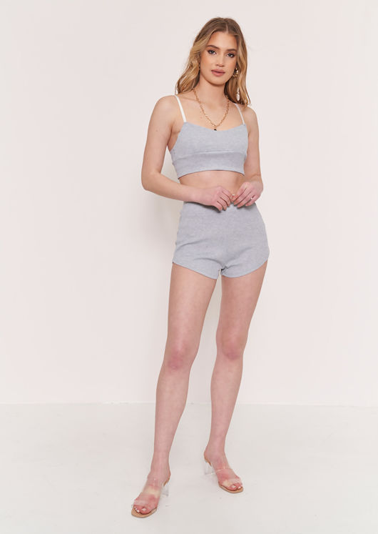 Ribbed Strappy Crop Top Shorts Loungewear Co Ord Set Grey