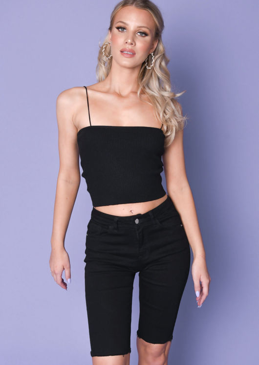 Ribbed Stretch Bandeau Skinny Straps Knit Crop Vest Top Black