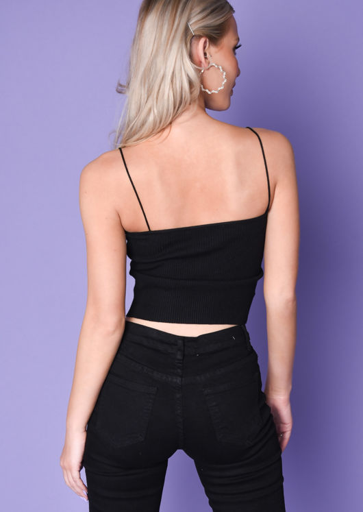 Ribbed Stretch Knit Crop Vest Top Black