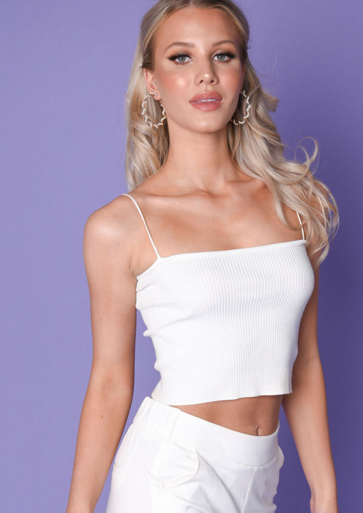 Ribbed Stretch Knit Crop Vest Top White