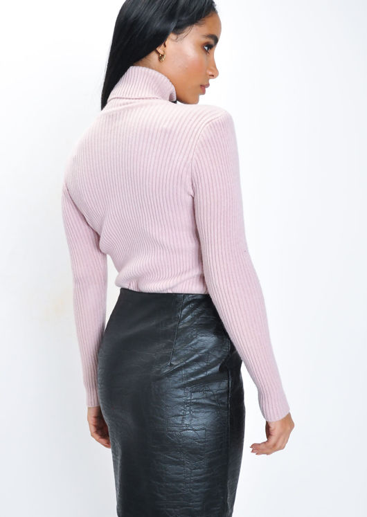 Ribbed Turtleneck Knit Jumper Top Pink