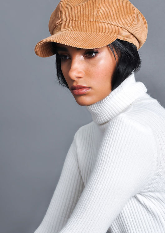 Ribbed Turtleneck Knit Jumper Top White