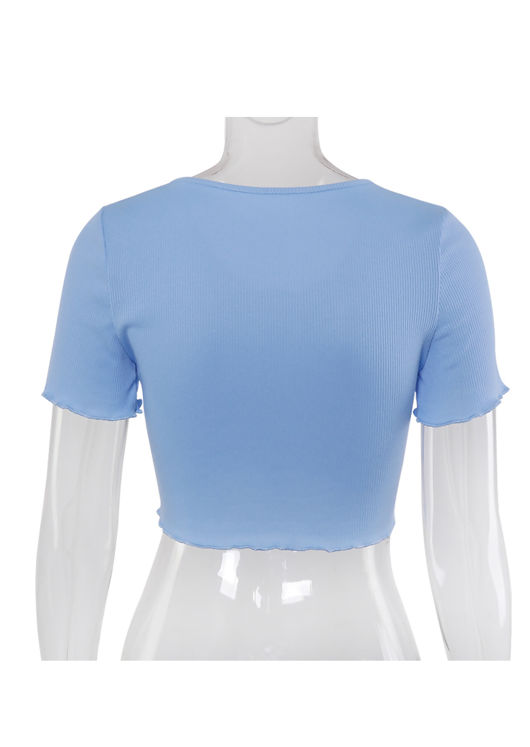 Ribbed V Neck Frill Button Front Crop Top Blue