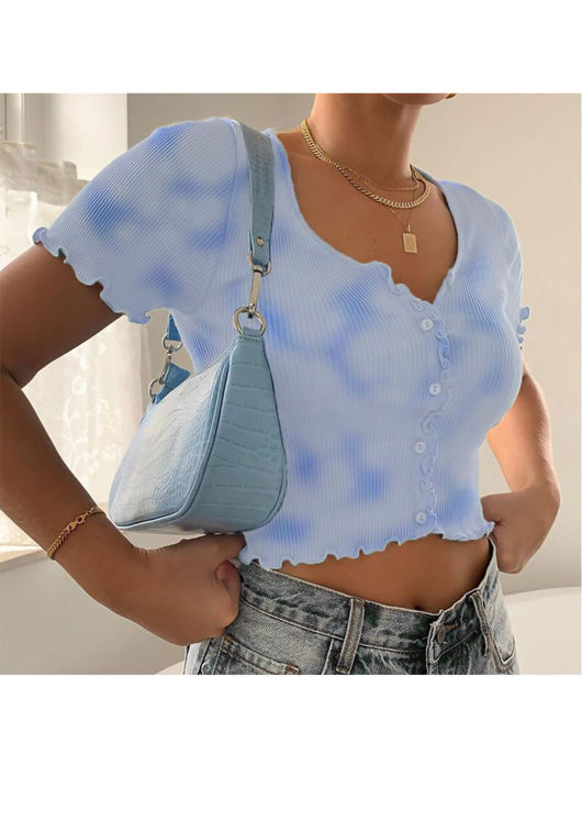 Ribbed V Neck Frill Button Front Crop Top Tie Dye Blue