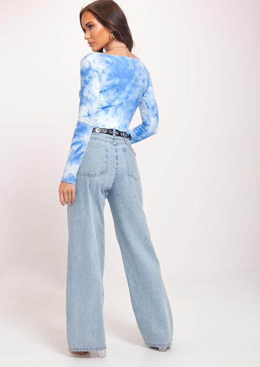 Ribbed V Neck Ruched Drawstring Crop Top Tie Dye Blue