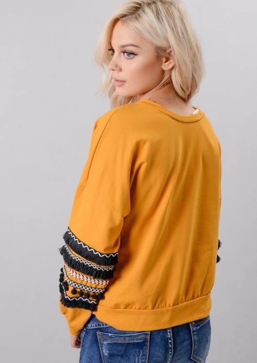 Multi Colour Fringe Embroidered Sleeved Sweatshirt Mustard Yellow