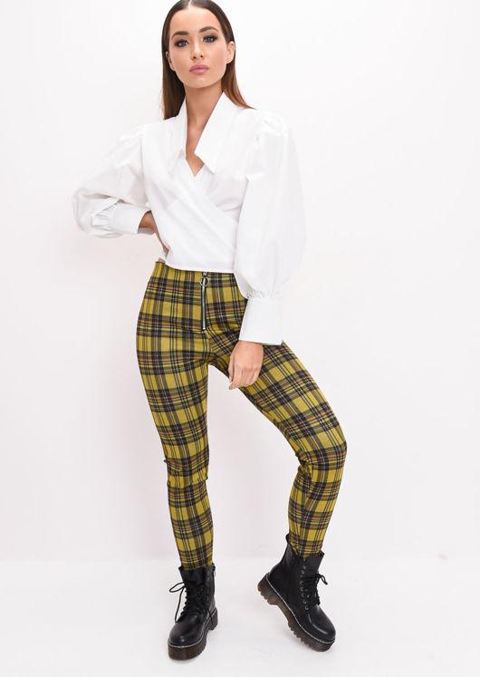 Woven Ring Zip Tartan High Waisted Legging Trousers Mustard Yellow