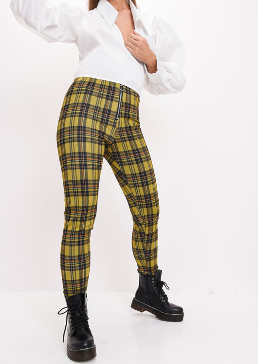 Woven Ring Zip Tartan High Waisted Legging Trousers Mustard Yellow