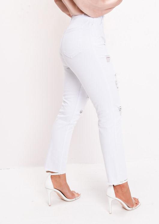 Ripped Frayed Hem High Waisted Denim Jeans White