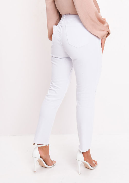 Ripped Frayed Hem High Waisted Denim Jeans White