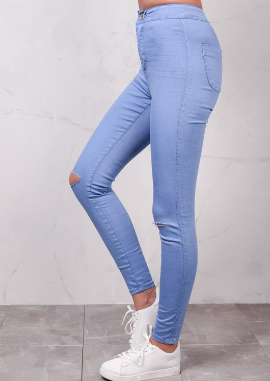 Ripped Knee High Waisted Jeans Sky Blue