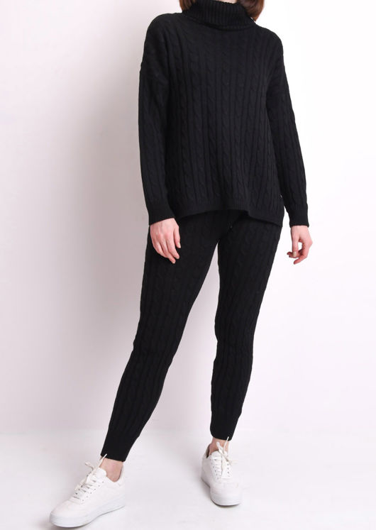 Roll Neck Cable Knit Loungewear Set Black