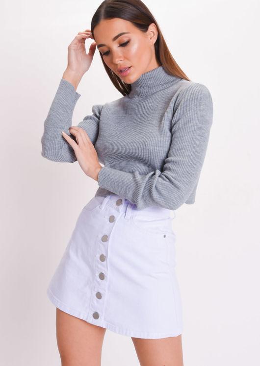 Roll Neck Long Sleeve Knit Crop Top Grey