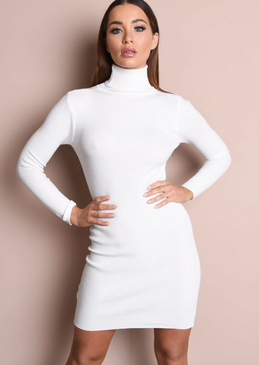 Roll Neck Ribbed Knit Dress Cream