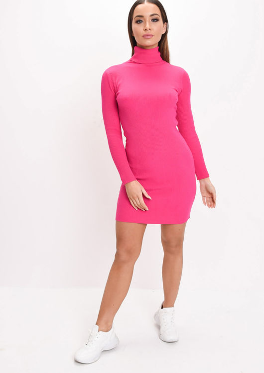 Roll Neck Ribbed Knit Dress Fuchsia Pink
